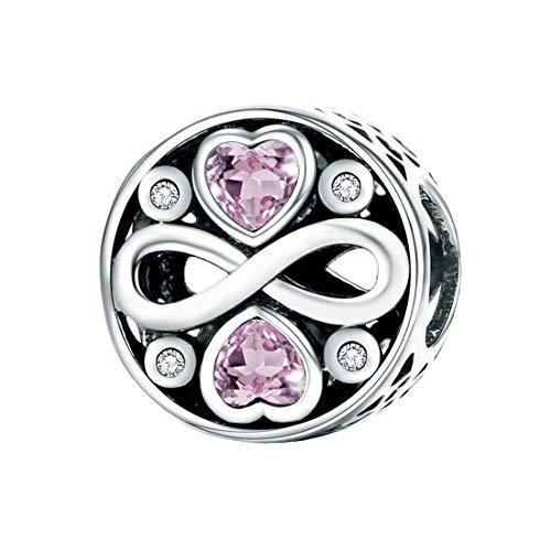 Forever-Love-Charm-Anhänger, 925er Sterlingsilber, für Pandora und europäische Armbänder Pink Zirkonia Infinity Love Bead Charms