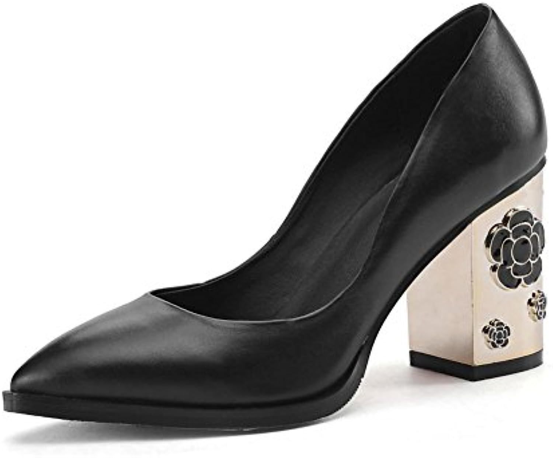 Donna Scivolare su Pelle singolo Tribunale Scarpe Metallo Bloccare Bloccare Bloccare alto Tacco appuntito Dito del piede Nero Grigio... | Adatto per il colore  | Maschio/Ragazze Scarpa  4c1393