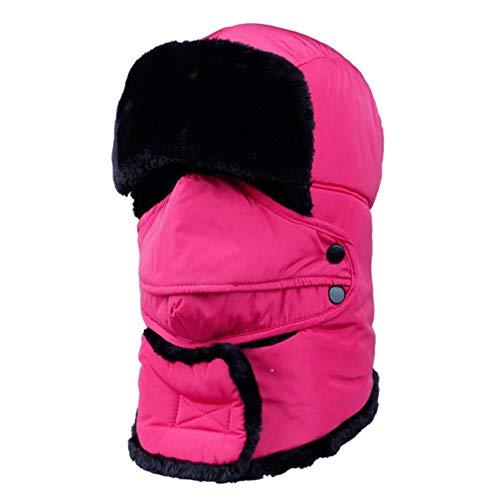 WJBZLN wintermützeWeiblich für Frauen Männer Gesichtsmaske Motorhaube Winddicht Starke Warme Schnee Ski Winter Hut Kappe ohrenklappe, Rose (Schnee-hut Gesichtsmaske Männer)