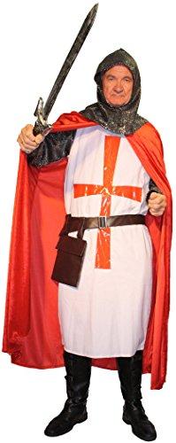 5-teiliges Kreuz-Ritter Kostüm-Set für Herren | Größe 58/60 | Kämpfer Kostümierung für Karneval | Krieger-Verkleidung in Rot-Weiß für Fasching | Mittelalter Karnevalskostüm für Fastnacht & Mottopartys - 7