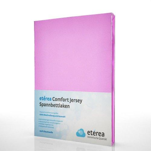 etérea Comfort Jersey Spannbettlaken - in viele Farben und alle Größen - 100% Baumwolle, Rosa 90x200 - 100x200 cm