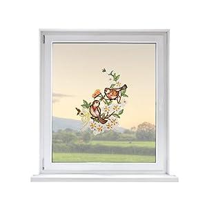 PLAUENER SPITZE Fensterbild Vögel, ca. 30×21 cm