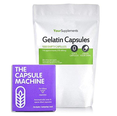 Your Supplements - Capsule Machine Kapselfüller Gr. 0 & 1000 Gelatine Leerkapseln