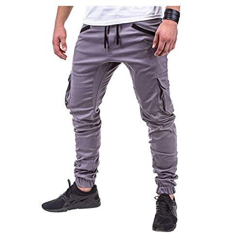 Xmiral Herrenhosen Neue Persönliche Reißverschluss-Tasche Elastisch Kleiner-Fuß Sports Einfarbig Hose(C Grau,3XL)