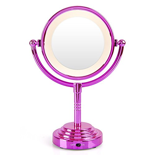 Price comparison product image Lee Stafford 'Lighten Up' Illuminated Magnifying Mirror - Complete Your Dressing Table in Style with This Sleek, Pink Chrome Viewing Mirror- 60 Day Money Back Guarantee