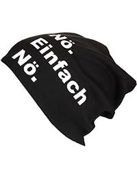 XL Jersey Beanie in schwarz mit Motiv Nö einfach nö - Handprintet in Germany