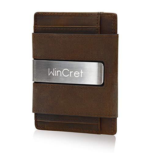 WinCret Portafoglio Uomo Sottile con Fermasoldi e Portamonete - Porta Carte di Credito RFID innovativo Mini Clip Portafoglio da uomo funzionale in vera pelle - Confezione regalo