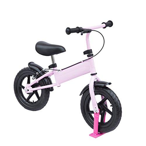 Homcom 30,5cm Kids Learner Balance Bike Scooter Kinder Training Fahrrad mit Bremse (Pink)