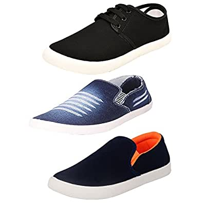 JABRA Casual Blue & Black Combo of 3 Footwear (Sneaker,Casual Shoes,Loafer)