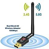 Adattatore Antenna USB WiFi a Lunga Distanza Chiavetta Wifi con Antenna 5dBi Ricevitore WiFi 600Mbps 802.11ac Dual Band 5G Scheda Wifi Supporto Windows 10/8/7 / Vista / XP / 2000, Mac OS