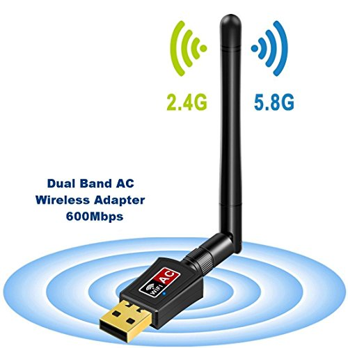 Foto de Adaptador Antena WIFI USB de Largo Alcance 600Mbps de Victsing, wifi Adaptador Inalámbrico,Dual Band (5GHz 433Mbps / 2.4GHz 150Mbps) Con Antena 5dBi,Dongle Wifi,mini Receptor para Windows XP/Vista/7/8
