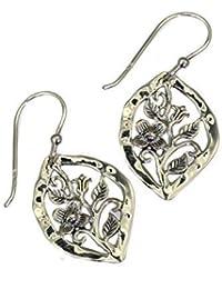 Pretty de plata de ley con Drop Juego de pendientes de diseño de flores