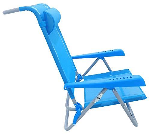 Meerweh Strandstuhl mit Verstellbarer Rückenlehne und Kopfpolster Klappstuhl Anglerstuhl Campingstuhl Saphir/blau