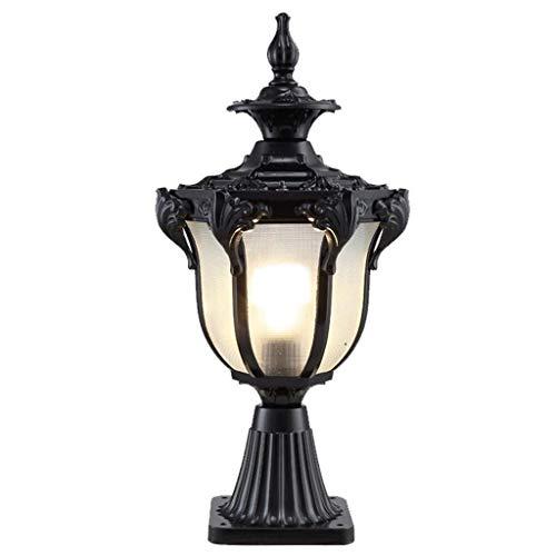 Jstyal968 Yalztc-zyq16 Säulenlampe wasserdichte Außen Europäische Türpfostenlampe Außenwandlampe Landschaftslicht Gartenlampe Wandlampe (Color : Black)