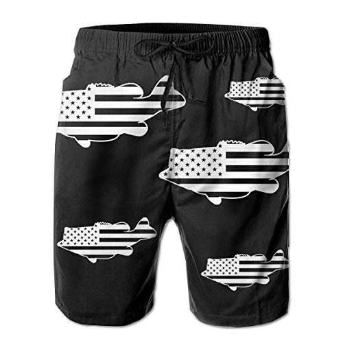 SOOPTY Men's American Us Fish Flag Quick Dry Swim Trunks Bathing Suits with Mesh Lining Swimwear XL - American-flag Fish