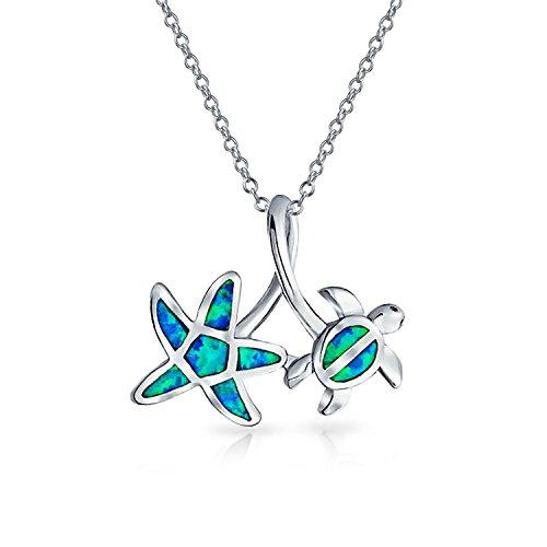 Bling Jewelry Blue Opal Inlay nautische Starfish Schildkröte Anhänger Rhodinierter Kette 18 Zoll