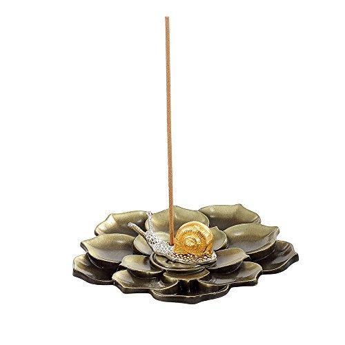 medoosky latón Lotus Stick quemador de incienso y cono de incienso soporte