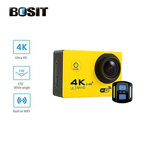 Bosit azione Camara, cinturino 2.4G Wireless RF telecomando, 4K HD Sports Action Camera, 12MP WiFi impermeabile camera 170gradi di angolo di vista largo 5,1cm schermo LCD/19Accessori kits- giallo, White