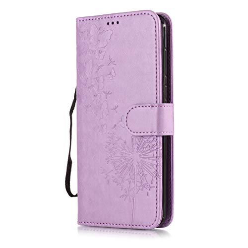 Beddouuk Huawei P10 Lite Hülle,Retro Floral Muster Design PU Leder Ständer Flip Cover mit Karte Halter Brieftasche Wallet Bookstyle Folio Ledertasche Handyhülle-B-Lila