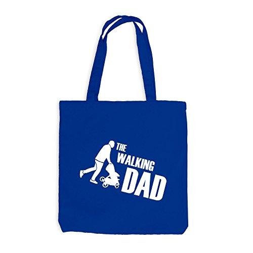 Jutebeutel - The Walking Dad - Fun Papa Father Royalblau