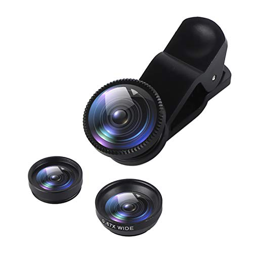 SINOTECHQIN Handy-Objektiv, 3-in-1, Fischaugen-Objektiv, Makroobjektiv und Weitwinkelobjektiv für Smartphones