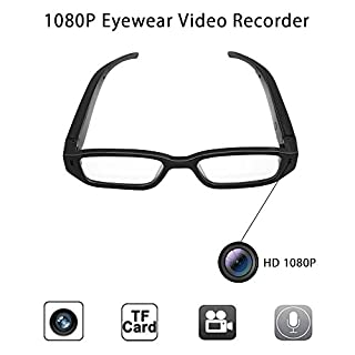 Anviker Full HD 1080p Mini Spy Glasses Camera Hidden Camera,Portable Surveillance Glasses with 5Mega Pixels-Eyewear Video Recorder Camcorder DV Voice Recorder +16GB Memory Card