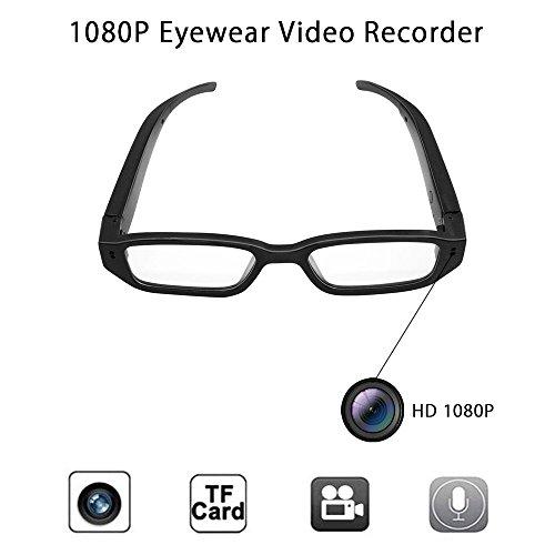 Anviker Volle HD 1080p Minispions-Glas-Kamera Versteckte Kamera,Tragbare Überwachungs-Gläser mit 5Mega Pixels-Eyewear Videorecorder-Kamerarecorder DV Sprachaufnahmegerät+16GB codierte Karte. (Für Kamera Autos Geheimen)