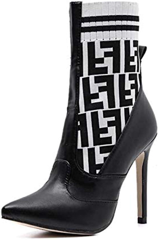Mamrar Femmes Chaussure Bottine Laine De Tricot Pointu...B07HW1HHYLParent De Couleur Correspondant Bottes Chaussettes 11.5 Cm Stiletto Pointu...B07HW1HHYLParent Tricot 24dc33