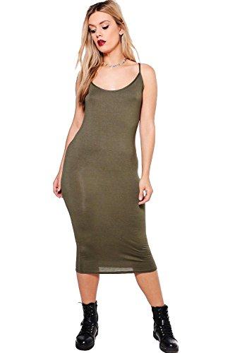 Khaki Damen Plus Molly Bodyconkleid In Midilänge Mit Schmalen Trägern Khaki