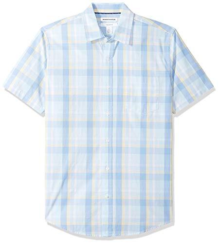 Amazon Essentials Slim-Fit Short-Sleeve Check Shirt Buttondown-Hemd, Aqua/Blue Plaid, US M (EU M) -