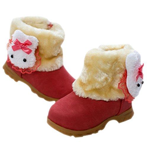 Taiycyxgan Baby Mädchen Schuhe Winter Warm Süß Häschen Schnee Stiefel Kleinkind Boots( 9-90 Monate (Kleinkind Rote Schuhe)