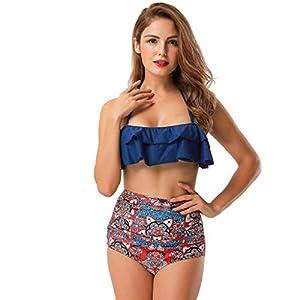 Bikini Damen Yanhoo Badeanzug Mit Print Und Träger Gepolsterter Zweiteiliger Rüschen Sexy Sling Split Swimwear Plus Size Strandbekleidung