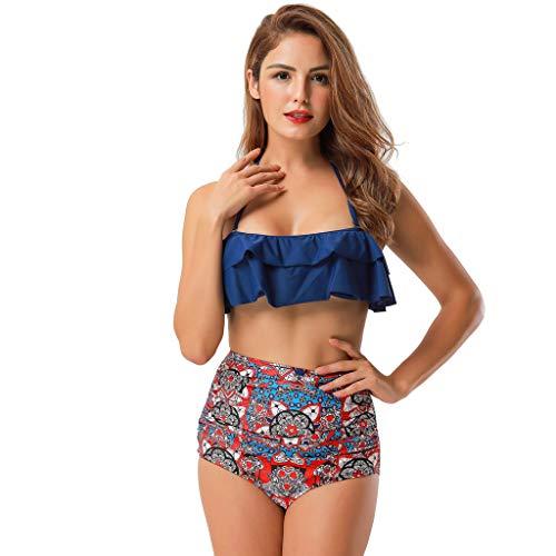 Push-up Beach Beachwear Damenmode Bikini Set Badeanzug Push-up Gepolsterter Blumendruck BH Sommer Beachwear BH Beach Wear Rüschen mit V-Ausschnitt, Tankini Bikini swimsuit swimanzug swimwear