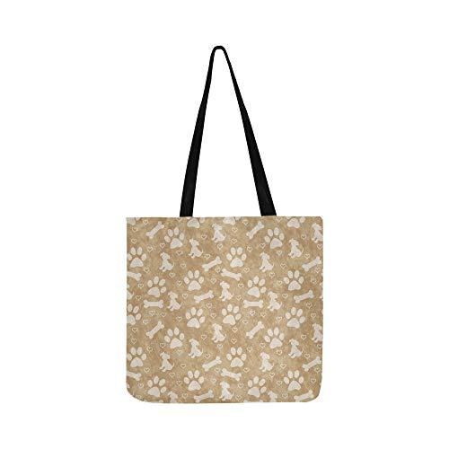 Brown Dog Paw Prints Welpen Knochen Canvas Tote Handtasche Umhängetasche Crossbody Taschen Geldbörsen Für Männer Und Frauen Einkaufstasche -