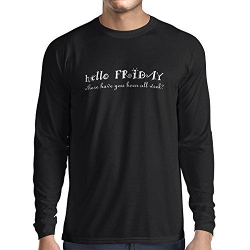 T-Shirt mit langen Ärmeln Ich liebe Freitags Unisex T-Shirt Schwarz Fluoreszierend