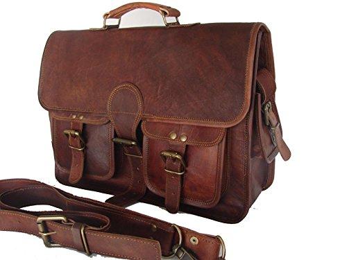 Men's Large Messenger Bag Leather Briefcase Laptop Satchel Office Messenger Bag Large Brown (Computer Briefcase Bag)
