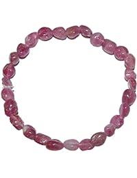 Turmalin rot - rosa Rubelit kleines Trommelstein Armband Größe der Steine: ca.5 - 7 mm.(4697)