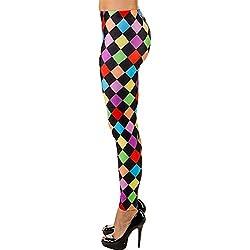 Leggins Payaso a Cuadros para Mujer en Colores neón / En Talla L/XL (ES 46 - 52) / Pantalones para Dama Coloridos Estilo Disco / Apropiado para Carnaval y Fiesta de los 80s