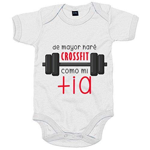 Body bebé De mayor haré Crossfit como mi tía - Blanco, 6-12 meses