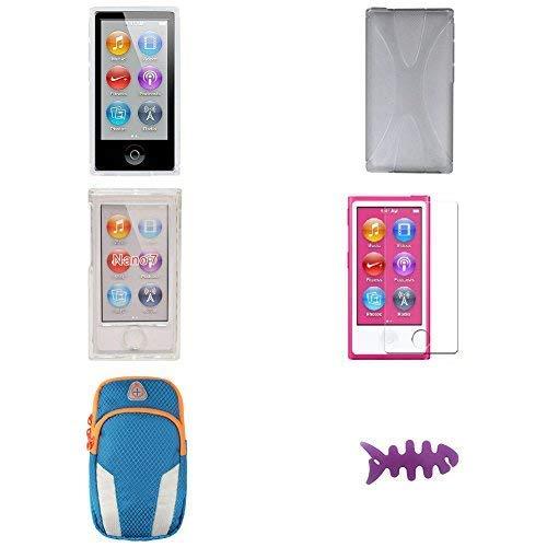 Aiboco Sportarmband für iPod Nano 7G 8 8G (inklusive Hartschale, Gummihülle, weiche Silikonhülle und HD-Displayschutzfolie) 6 Stück (Ipod Armband Lila)