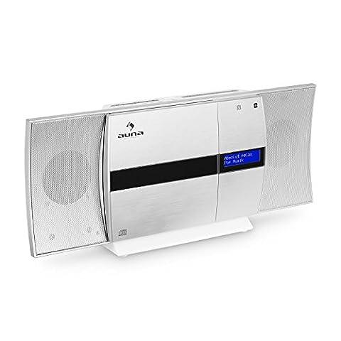 auna V-20 • Vertikal-Stereoanlage • Micro-Stereoanlage • CD-Player • MP3 • DAB+ Tuner • UKW-Empfänger • Bluetooth • NFC • Standaufstellung oder platzsparende Wandmontage • USB • Fernbedienung • LED-Display mit Uhrzeitanzeige • AUX-Eingang • silber-weiß