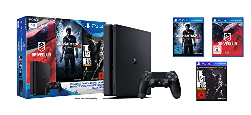 PlayStation 4 - Konsole (1TB, schwarz,slim) inkl. Uncharted 4 + Driveclub + The Last of Us Code 100 Remote