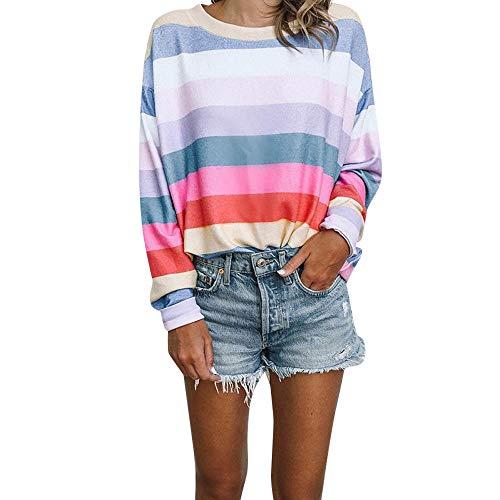 Streifen Hemdoberteile Damen,Elecenty Frauen Sweatshirts Elegant Streetwear Bunt Pullover Rundhals...