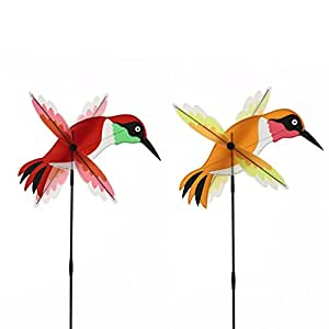 Red and Orange Hummingbird Whirling Wing Wind Spinners Set of 2