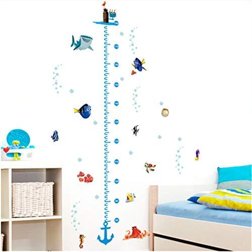 BKLKBL WandaufkleberHöhe Wachstum Chart Wandaufkleber Kinder Jungen Mädchen Unterwasser Seefisch Anker Findet Nemo Dekoratives Dekor Aufkleber Poster (Auf Nach Der Suche Nemo Mädchen)
