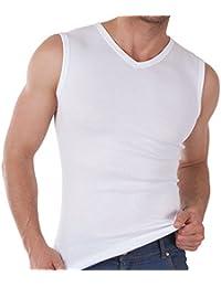 3er Pack Herren V-Neck Muscle Shirt Feinripp - Sleeveless T-Shirt - 100% gekämmte Baumwolle - versch. Farben und Größen S-3XL wählbar - Einlaufvorbehandelt - original CELODORO Exclusive