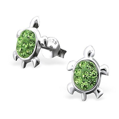 925 Silber Schildkröten Ohrringe mit 16 funkelden Kristallen auf dem Ruecken von Monkimau, Kinder-Schmuck, Sterling Silber, Damen, Frauen, Mädchen-Ohrstecker (Silber) Tier-ohrringe