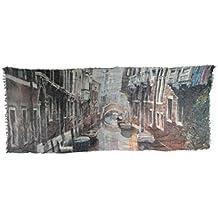 """Foulard in cotone impreziosito da stampa fedele dell'acquerello """"Venezia -Rio san Cassiano"""" dell'artista Nicola Tenderini. Prodotto artigianale, Made in Italy"""