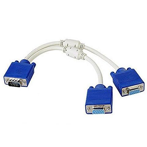15P VGA-Splitter-Kabel 1 Stecker auf 2 weiblich Y Adapter Monitor-Konverter für PC Video Computer TV-Projektor