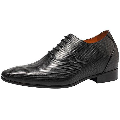 CHAMARIPA Herren Elevator Schuhe aus Kuhleder Derby Schnürhalbschuhe in Schwarz - 7,5 cm höher - K4020 (41)